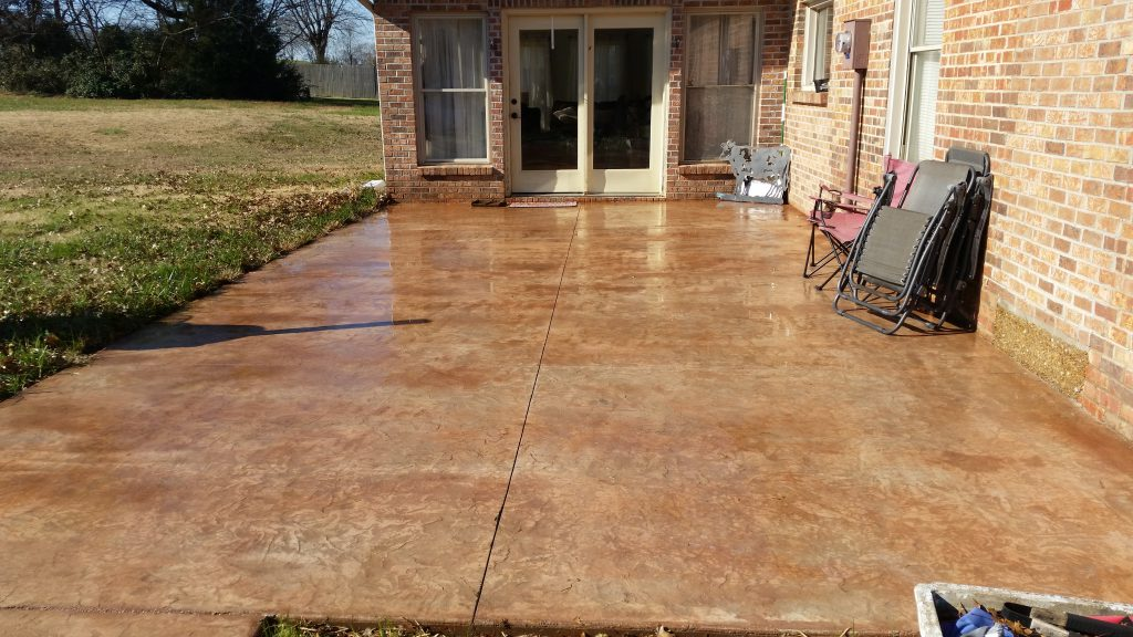 Colored And Stamped Patio In Portland Tn Concrete Workz